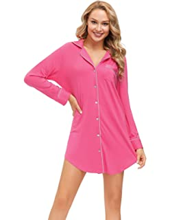 Women Long Sleeve Dress//Button Down Tunic Boyfriend Sleep Shirt