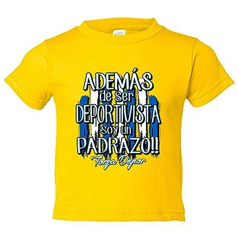 Camiseta niño además de ser Deportivista soy un padrazo La Coruña fútbol - Amarillo, 3
