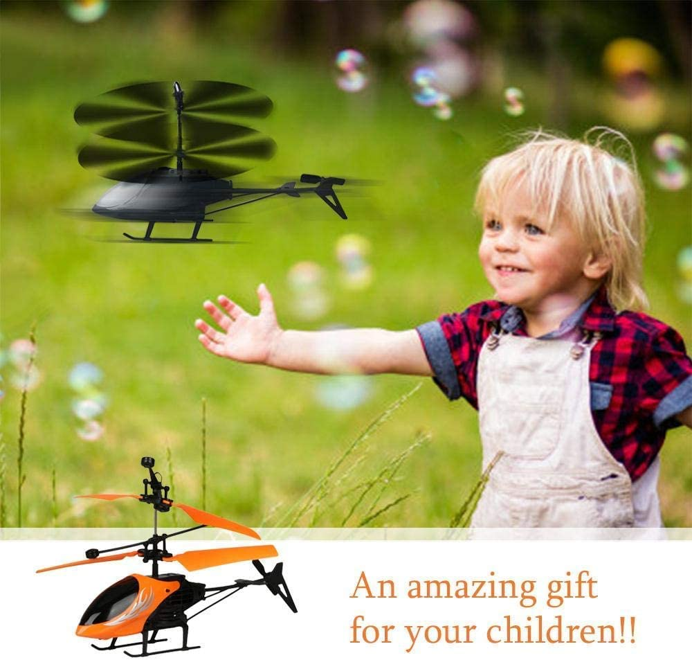 Shining LED Plane Flying Toys Hand Infrared Induction Hover RC Helicopter YAYATOY Helicopter Hand Control Flying Helicopter Infrared Induction Drone for Kids Indoor Games,Black