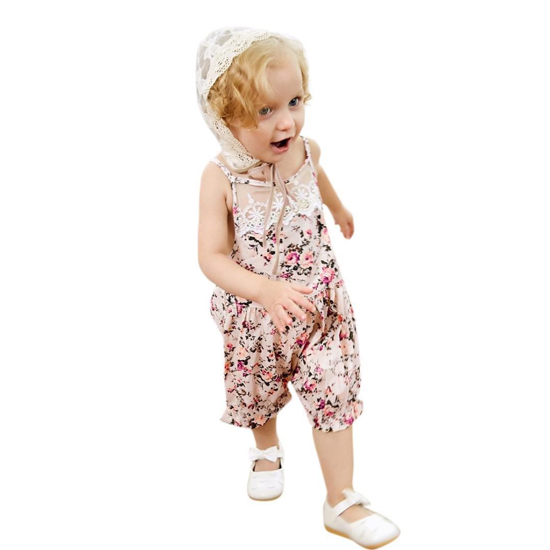 2PC Kids Baby Girls Floral Romper Jumpsuit+Lace Hats Set Outfit Clothes