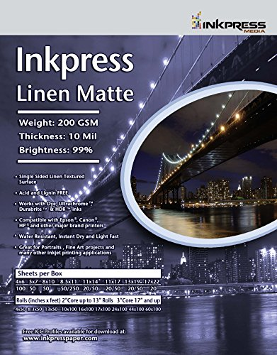Premium Single Sided Photo Paper (INKPRESS MEDIA 200gsm, 10 mil, 95% Bright, Single Sided Photo Quality Paper (#LME851150))