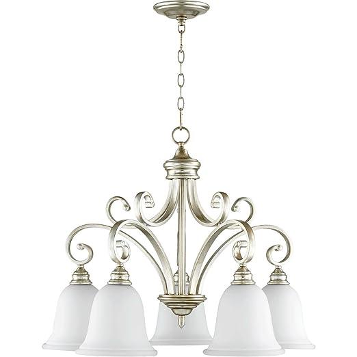 Amazon.com: Colgantes 5 luces con acabado de hoja de plata ...