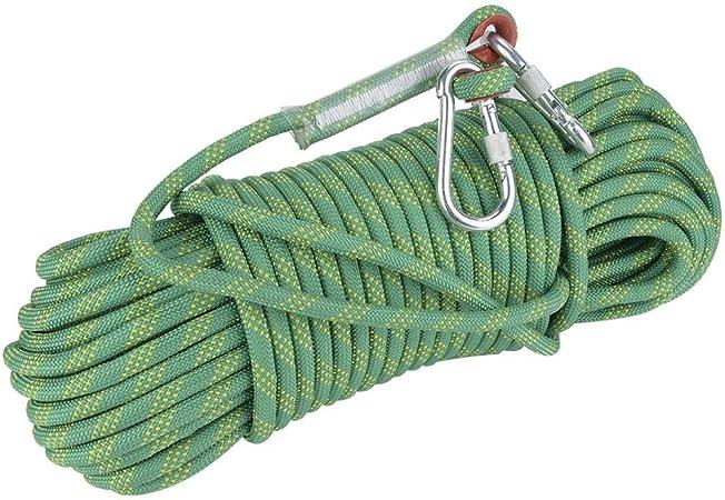 Fafeims 30 m 12 mm de diámetro Cuerda de Escape Cuerda de Escalada estática Cuerda de Supervivencia de Seguridad para Actividades al Aire Libre(Verde)