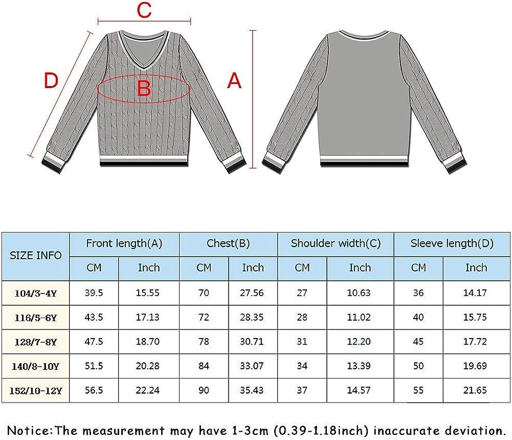 BOBOYOYO Boys Cardigan V-Neck Sweater School Uniforms Long Sleeve Cotton Knit Cloth for 4-12Y