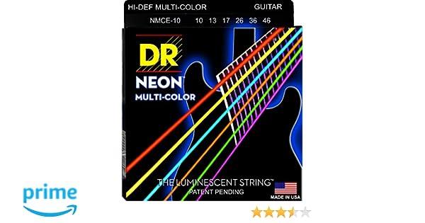 DR NEON Hi-Def MULTI-COLOR Medium · Cuerdas guitarra eléctr.: Amazon.es: Instrumentos musicales