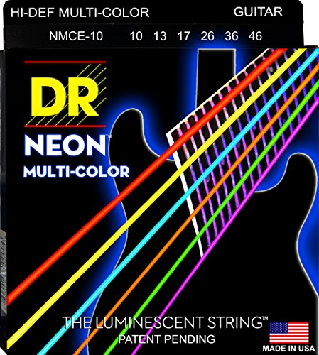 DR Strings NMCE-10 DR NEON Electric Strings, Medium, Multi-Color (String Color)