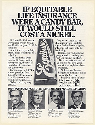 1980 If Equitable Life Insurance Were Candy Bar It Would Still Cost A Nickel Print Ad  Memorabilia   61888