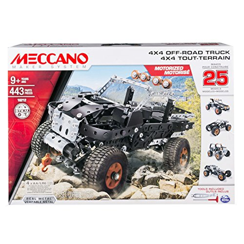 Meccano 4x4 Off-Road Truck  25 Model Building Set, 443 Pieces, For Ages 9+, STEM Contruction Education (Motorized Erector Set)