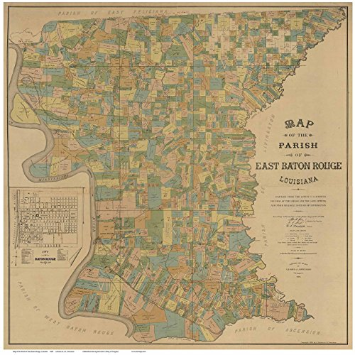 East Baton Rouge Parish Louisiana 1895 - County Wall Map with Landowner Names and Farm Lots - Old Map Reprint