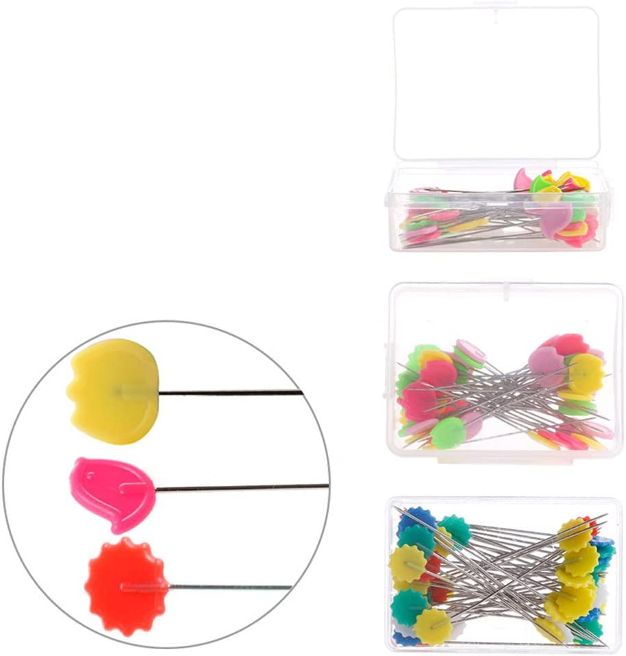 100 Per Pack Slaxry Flower Head Pins Multicolor Patchwork Pins with Box DIY Quilting Tool Sewing Accessories