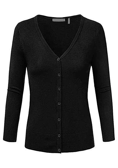 Women's Plus Size 3/4 Sleeve V-Neck Button Cardigan Sweater Casual ...