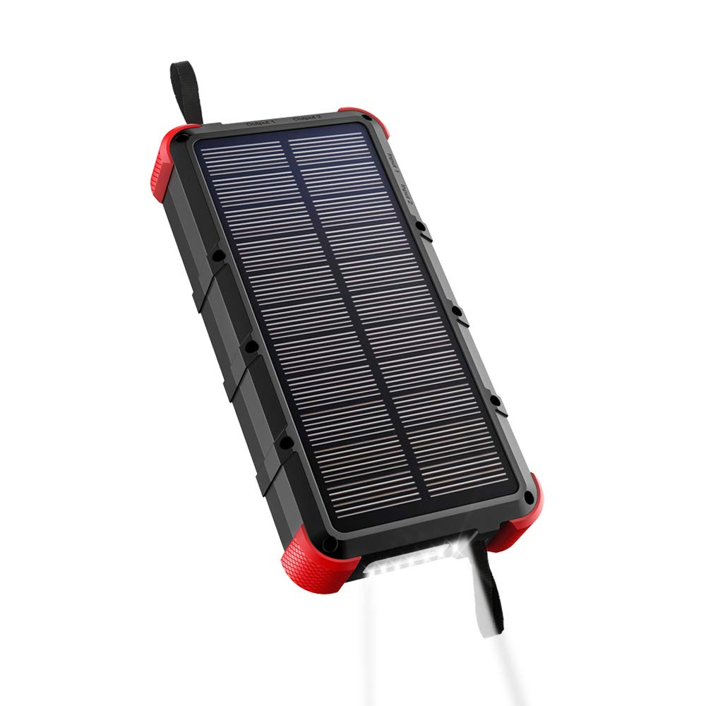 [Quick Charge] OUTXE 20000mAh Rugged Solar Charger (Dual Input) IP67 Waterproof Power Bank with Flashlight by OUTXE