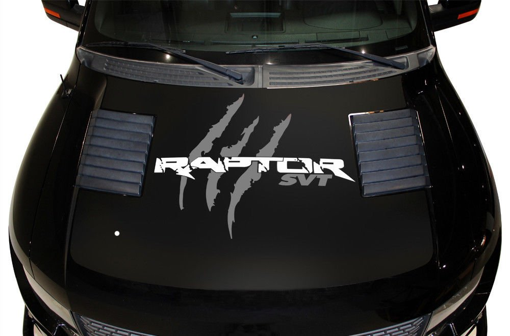 Factory Crafts Ford F-150 Raptor SVT 2010-2014 Raptor Hood WRAP Graphics Kit 3M Vinyl Decal Wrap Matte Black Base with Nimbus Gray Tears