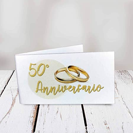 20 Anniversario Di Matrimonio.Kamiustore Bigliettini 50 Anniversario Di Matrimonio Neutri Set