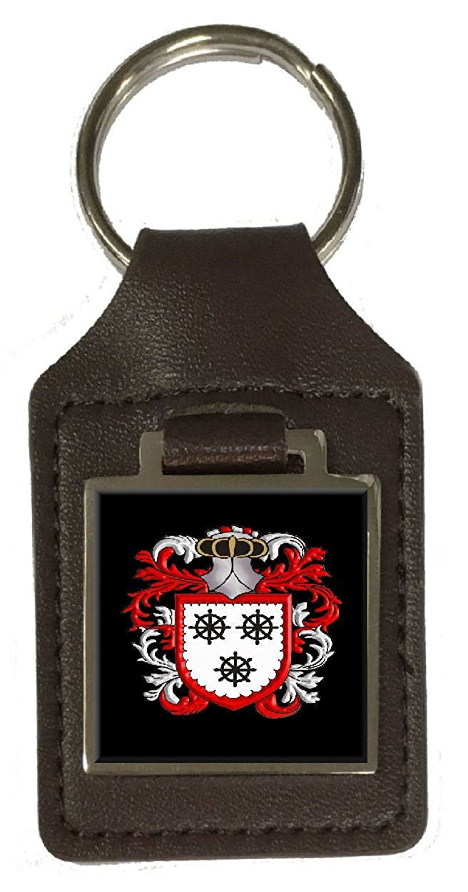 Scott Family Crest Surname Coat Of Arms Brown Leather Keyring Engraved