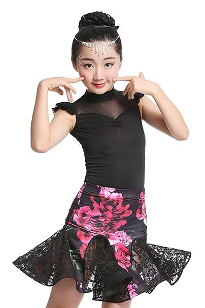 XFentech Disfraces Niñas Vestido de Baile Latino Bodysuit + Falda ...