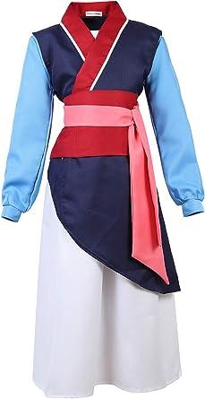 Amazon Com Girls Princess Dress Halloween Cosplay Costume Kimono Chinese Heroine Hua Mulan Dress Hanfu Ball Gown Robe Outfit For Kids Clothing