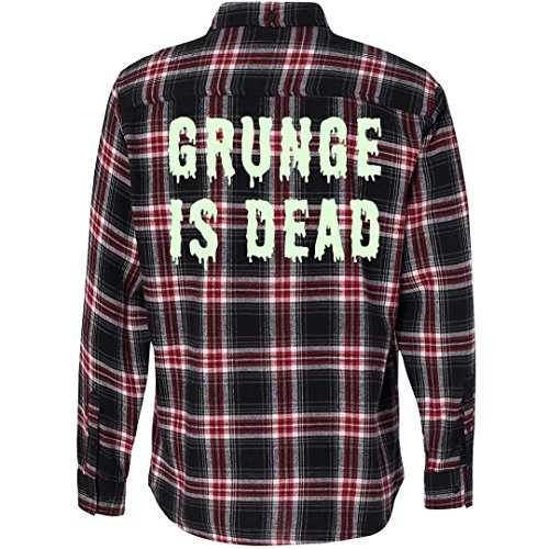 Customized Girl Glow in The Dark Grunge is Dead: Unisex Plaid Flannel Shirt