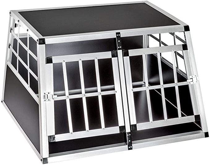 Voltoo Aluminio Perros Box Caja de Transporte Perros Caja de Transporte de 1 Puertas Viaje Caja Auto Caja de Transporte para Maletero Box Rejilla Perros Jaula para Mascotas: Amazon.es: Productos para mascotas