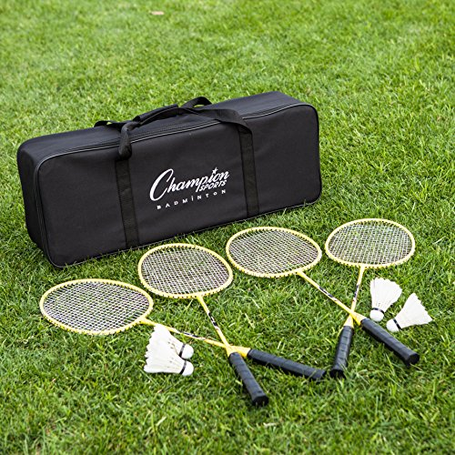 Champion Sports Outdoor Badminton Set: Net, Poles, 4 Rackets, 4 Shuttlecocks & Bag - Portable Equipment for Backyard Games, Team Sports, Adults & Kids by Champion Sports (Image #8)