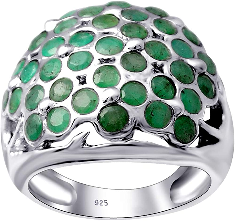 3.20 Carat Genuine Emerald Sterling Silver Engagement Ring