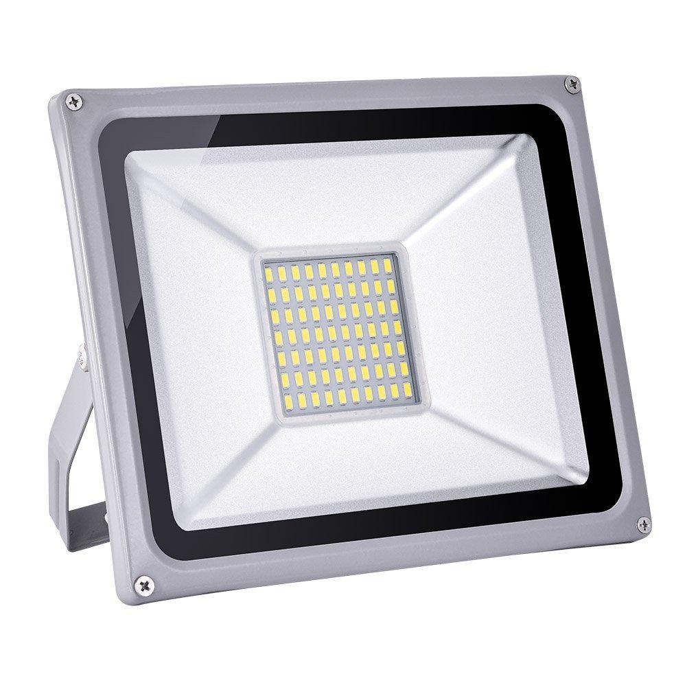 50 Watt High Power LED Flood Light, Coolkun Projector Outdoor Spotlight, Waterproof, SMD Landscape Security Lights (50W Daylight White)