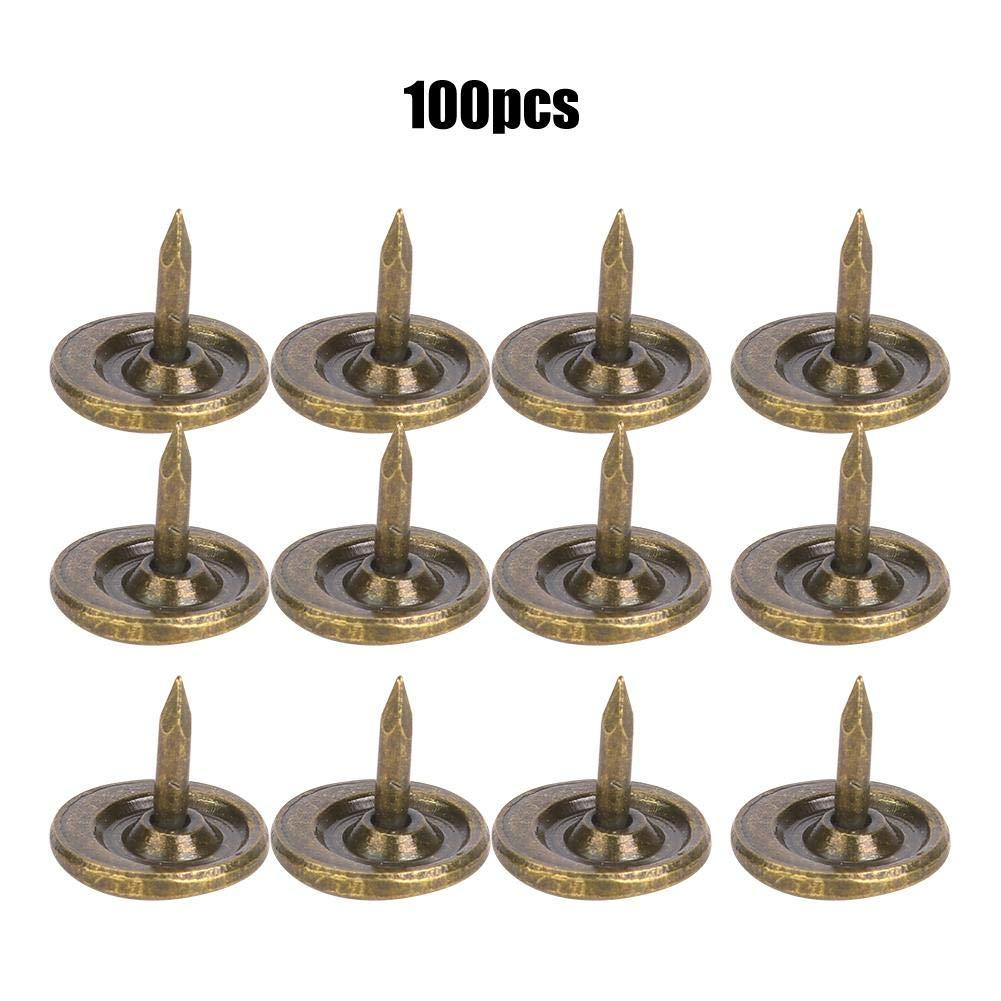 HEEPDD 100 Pezzi Chiodo per tappezzeria Diameter 9mm Spille per Unghie di mobili antichi Rotondi a Testa Piatta in Ferro Bronzo Ciano Chiodi per tappezzeria antichi assortimento Testa Grande