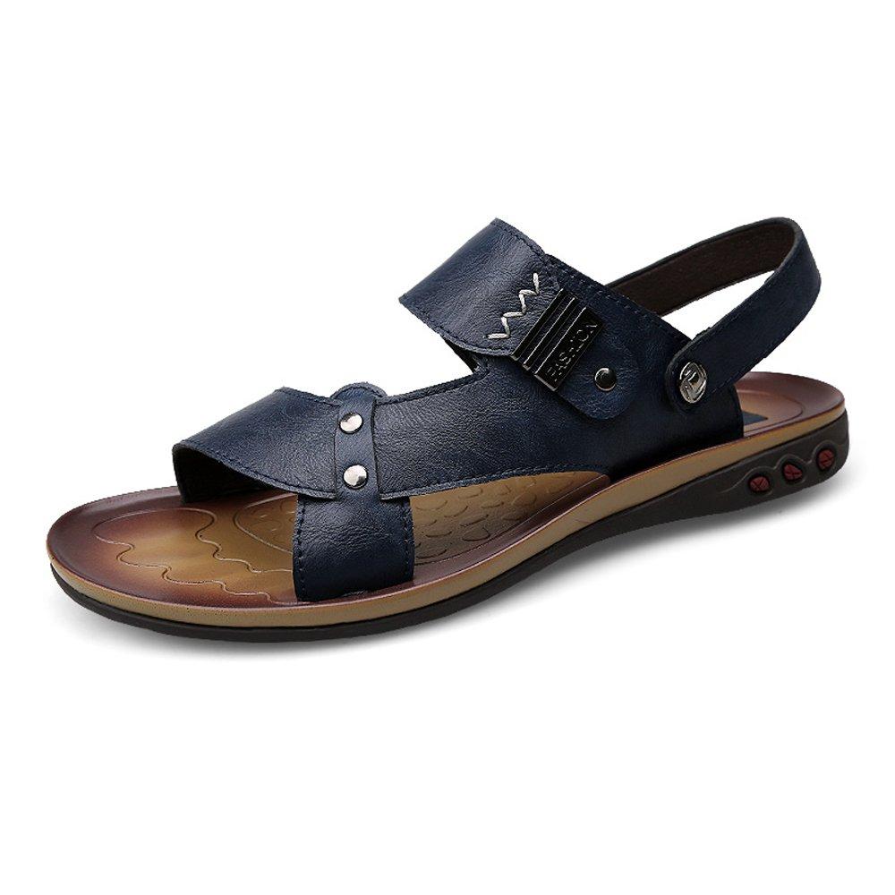 Sunny&Baby Zapatillas de Playa de Cuero de Imitación para Hombre Zapatos Sandalias Antideslizantes sin Respaldo Ajustable Resistente a la Abrasión 40 EU|Armada