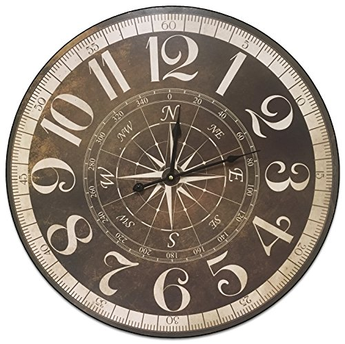 HDC International Round Brown And Tan Compass Decorative Wall Clock With Big Roman Numerals And Distressed face 23 x 23 inches Quartz movement.0099