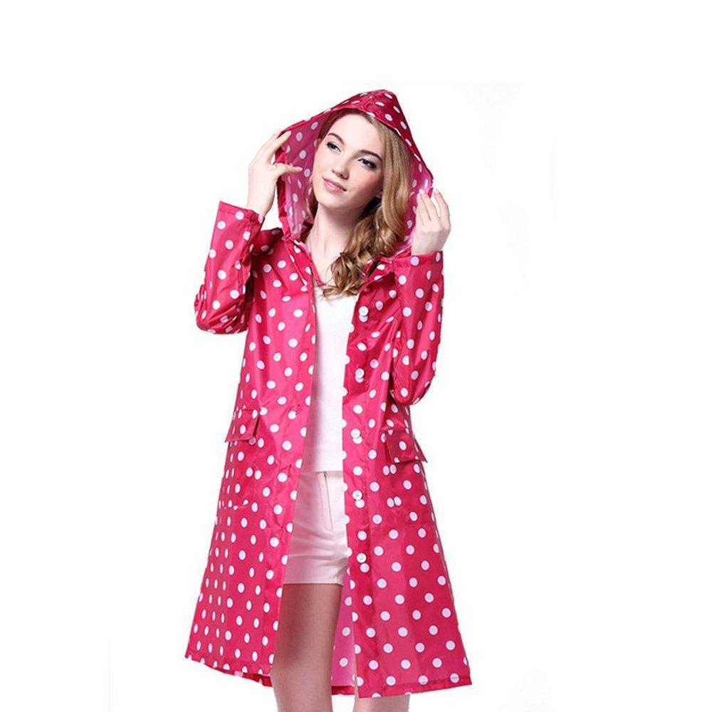 LOHOME Lady's Raincoat Women's Long Style Rain Jacket Lightweight Rainwear Hooded Rain Cape (Red)