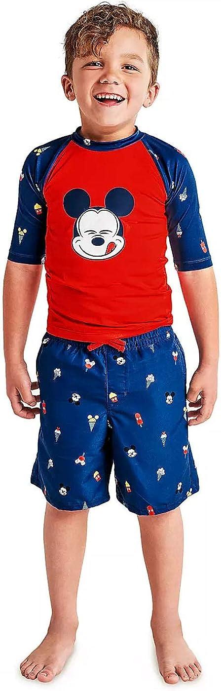 UPF 50 Sun Mickey Mouse /& Friends Boys Swim Trunks and Rash Guard Set Toddler//Little Kid//Big Kid