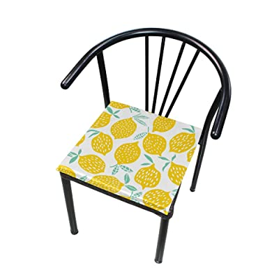 """Bardic HNTGHX Outdoor/Indoor Chair Cushion Summer Lemon Leaves Square Memory Foam Seat Pads Cushion for Patio Dining, 16"""" x 16"""": Home & Kitchen"""