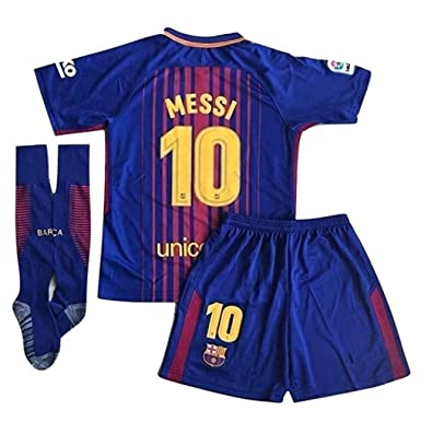 dbaa3df6c 10 Messi Barcelona Home Kids Or Youth Soccer Jersey   Shorts   Socks Set  2017-