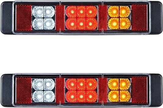 White Waterproof Car Truck 12LED Brake Taillight Turn Signal Stop Lamp