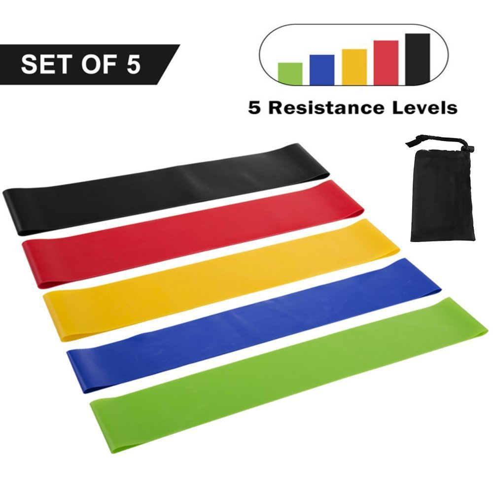 LNBEI Fitness Resistance Band set 5 Levels Elastic Latex Strength Training Athletic Rubber Loops Bands Workout Fitness Equipment by LNBEI