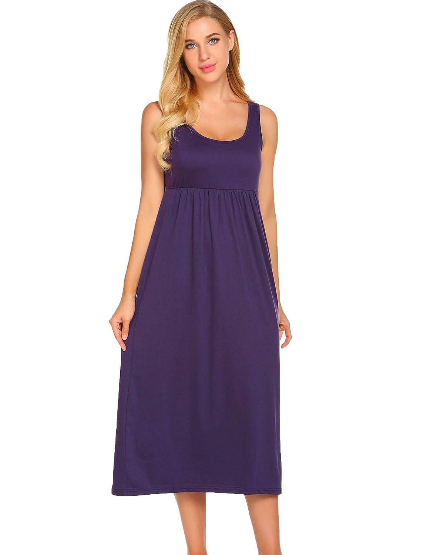 c7cbf856d7 Ekouaer Women s Sleepwear Sleeveless Nightgown Maxi Empire Waist Layered  Tank Slip Dress S-XXL at Amazon Women s Clothing store