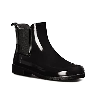 Womens Hunter Original Refined Chelsea Gloss Wellingtons Ankle Rain Boot Black