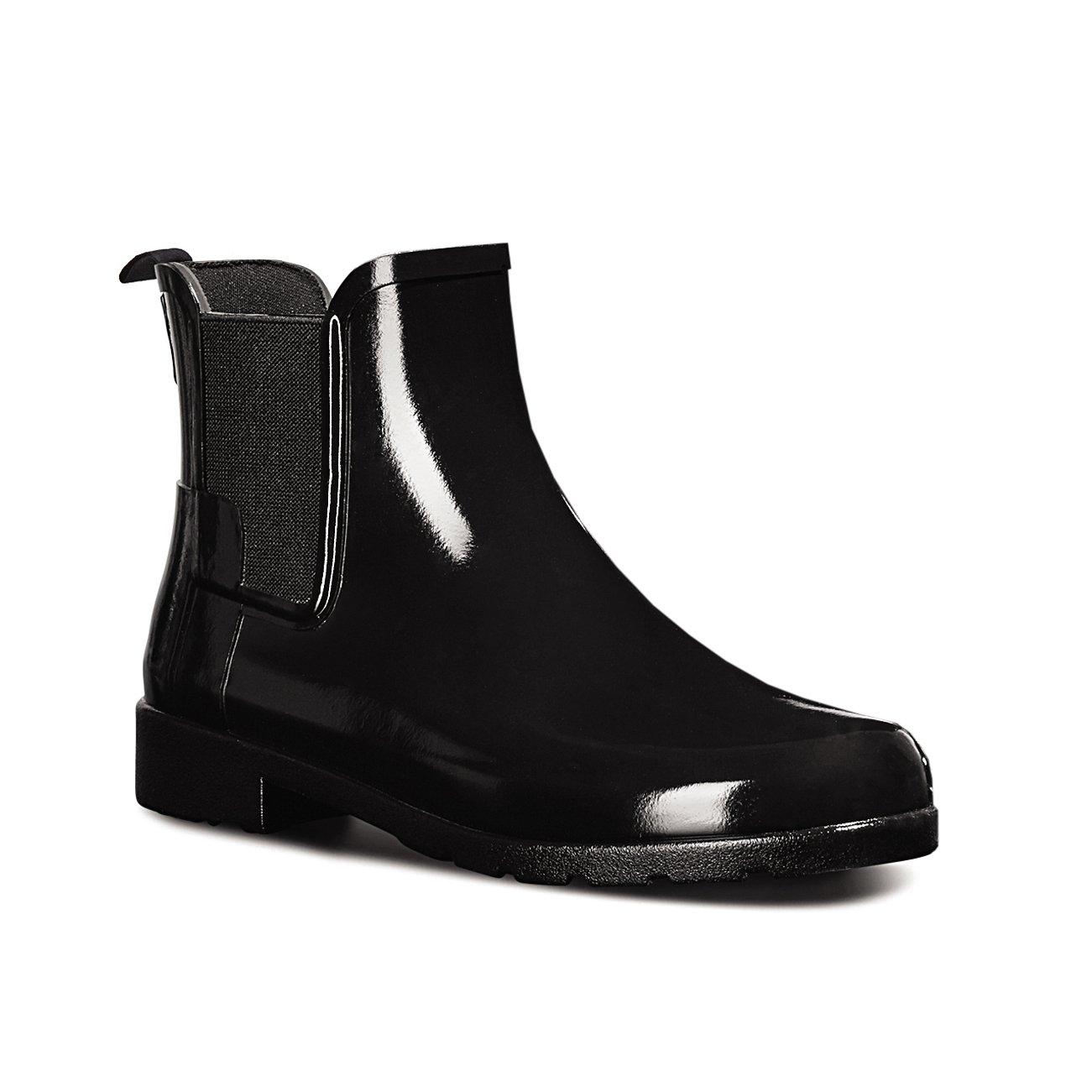 Hunter Womens Original Refined Chelsea Gloss Wellingtons Ankle Rain Boot - Black - 10