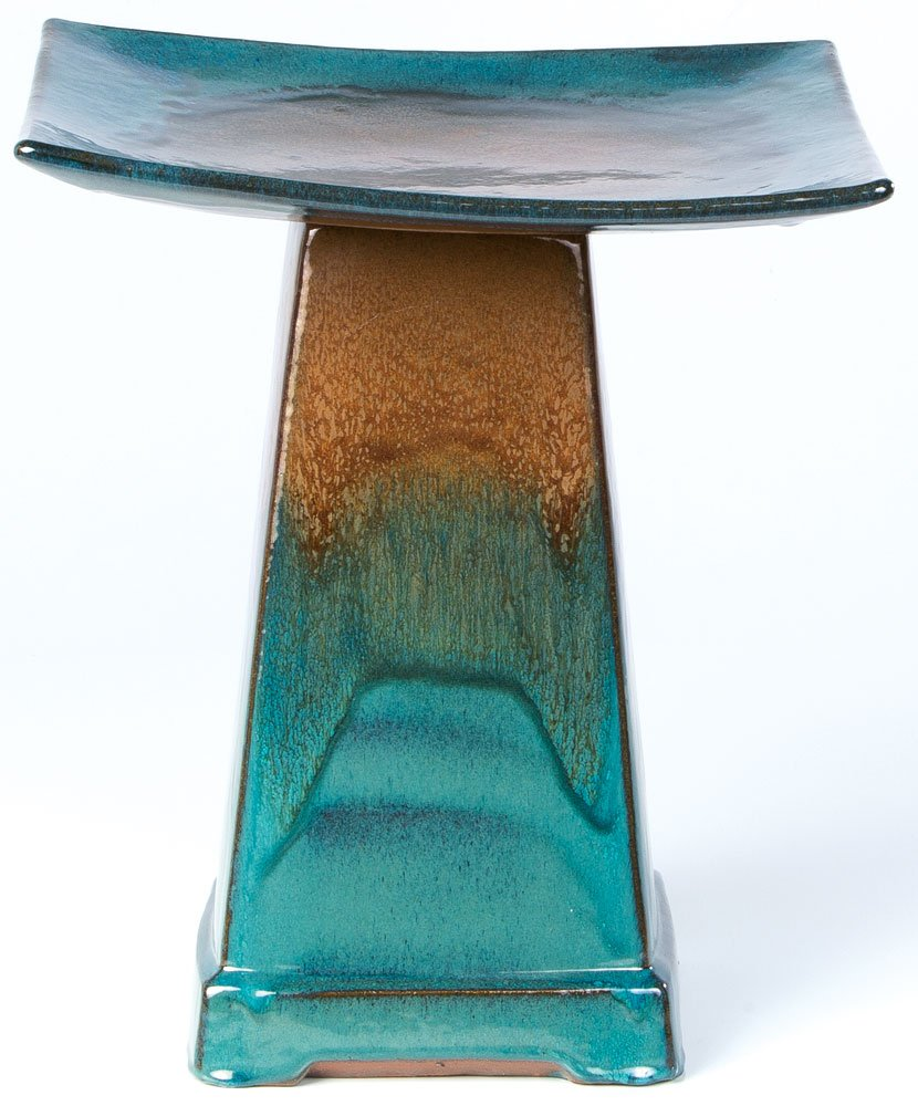 Alfresco Home Zen Aqua Ceramic Bird Bath, Large, Brown/Atlantis Blue