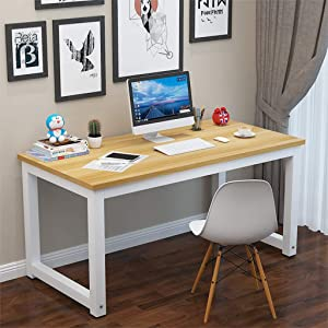 US Fast Shipment Quaanti Rustic Solid Wood Computer Desk,40/48/55 Inch Large Office Desk Workstation PC Laptop Study Writing Table Desktop for Small Spaces,Home Office Workstation Furniture (40 Inch)