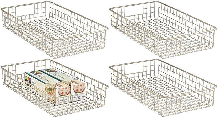 box m/étallique compact avec poign/ées int/égr/ées compacte et flexible mDesign panier de rangement /à utilisation universelle corbeille de stockage grillag/ée couleur : satin