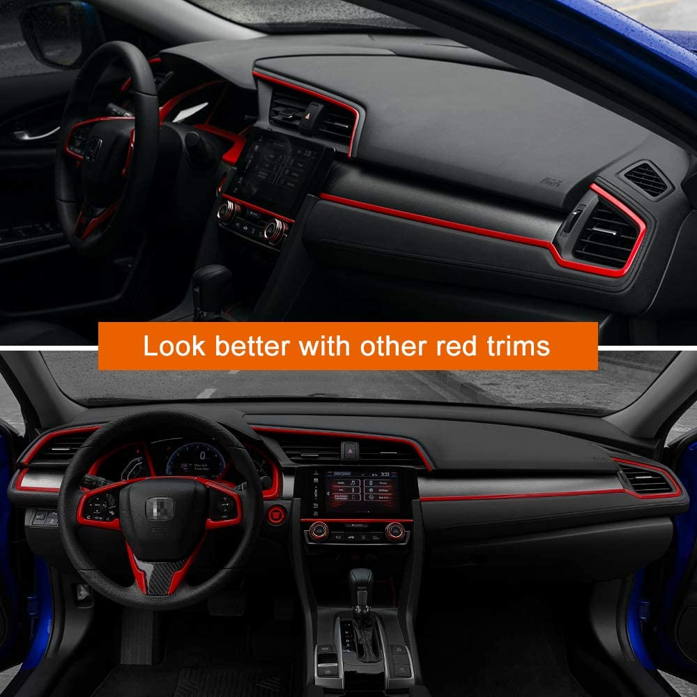 Blue Thenice 2pcs Center Consoles Stickers Air Vent Trims Dash Board Panel Strips Inner Decals for 10th Gen Honda Civic 2020 2019 2018 2017 2016