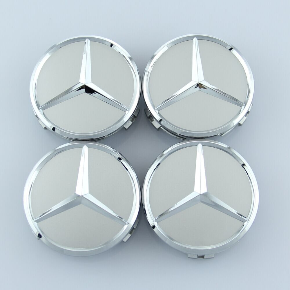 ZZHF1 Wheel Center Caps For Mercedes Benz 75mm - Raised Star Wheel Rim Insert Caps (4Pcs) (Silver)