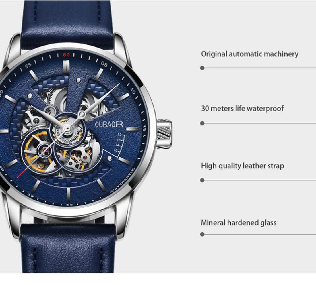 Herrklockor automatisk mekanisk klocka enkelt modebälte genom botten av affärsklockan b