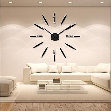 Duhl contexte moderne horloge murale montre décoration stickers effet miroir bricolage décoration pour la maison bureau