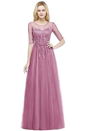 542489abf673 MisShow Abendkleider elegant für Hochzeit Rund-Ausschnitt Perlenstickerei  Spitze Tüll Ballkleider Abiballkleid Cocktailkleid  Amazon.de  Bekleidung