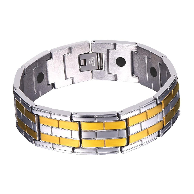 U7 Magnetic Bracelets Bangles Tourmaline Power Therapy Magnets Stainless Steel Balance Bracelet