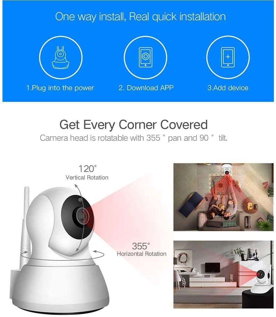 WOOKRAYS Home Security IP Camera, WiFi Wireless Network HD Camera with Motion Tracker Night Vision Remote Monitor, iOS Android 720P