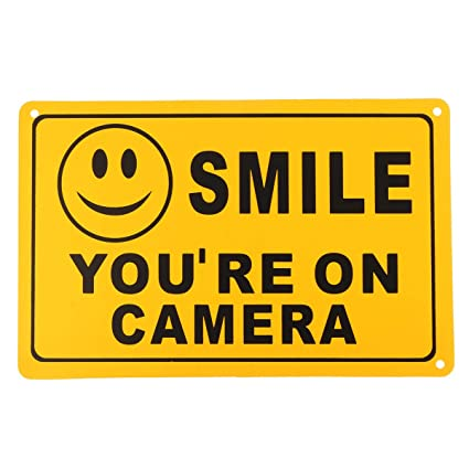 Security Surveillance CCTV Cameras Smile You/'re On Camera Yellow Warning Sign