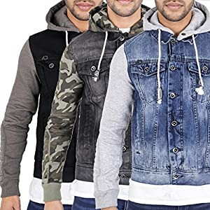 Arrested Development Mens Hooded Denim Jacket with Jersey Sleeves Stonewash Camouflage Black by